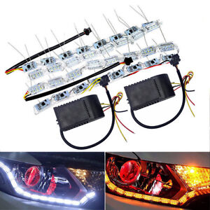 2X-Switchback-Car-Flexible-LED-Strip-Light-DRL-Sequential-Flow-Turn-Signal-Lamp