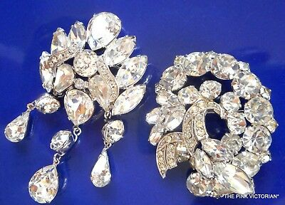 Vintage & Antique Jewelry Bridal Jewelry E1 Vintage Weiss Rhinestone Brooch Pin Set Excellent Condition