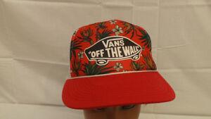 16c7f36c67 Vtg Vans Off the Wall Hawaiian Floral Mesh Snapback Trucker Hat Cap ...