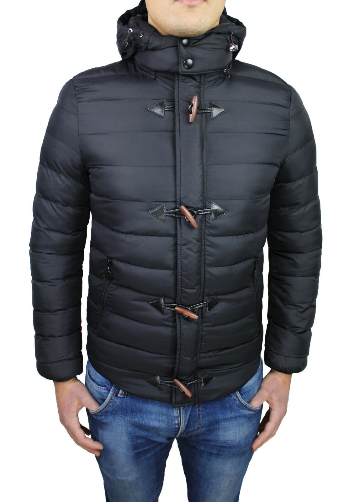 MONTGOMERY PIUMINO men DIAMOND CASUAL black INVERNALE BOMBER SLIM FIT ADERENTE