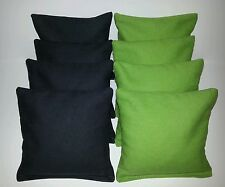Set Of 8 Black and Lime Cornhole Bean Bags Top Quality FREE SHIPPING