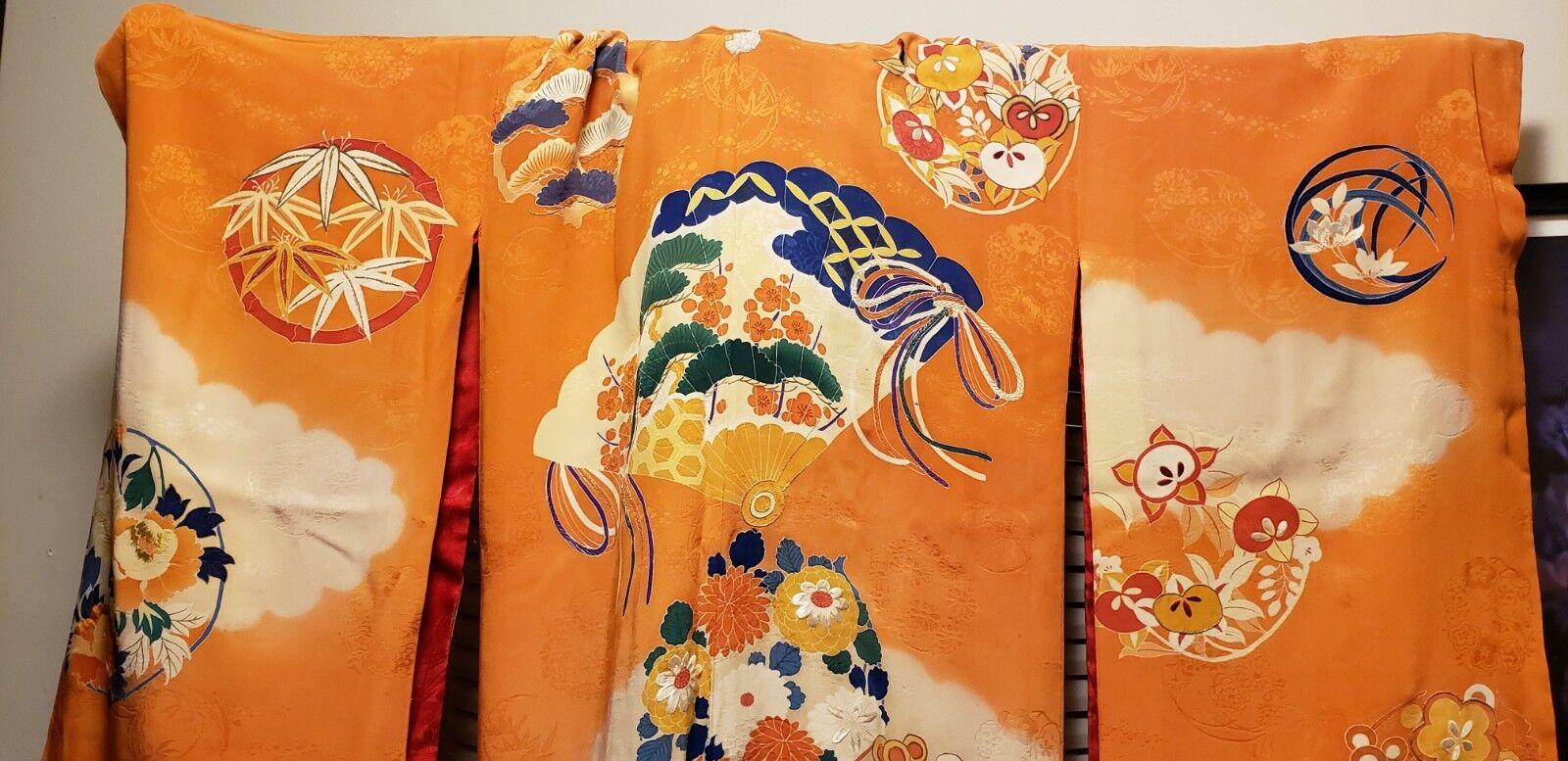 Beautiful Vint orange Kimono Haori Long Sleeves and bluee and White Yuzen Imagery