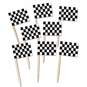 Pack-of-50-Wooden-Racing-Checkered-Flag-Picks-for-Cupcakes-Canapes-etc