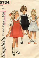 1960's VTG Simplicity Child's Dress or Jumper w/Transf Pattern 5734 Size 1 UNCUT