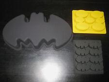 BATMAN LOGO SILICONE BIRTHDAY CAKE PAN CHOCOLATE CANDY MOLD ICE TRAY SET OF 3