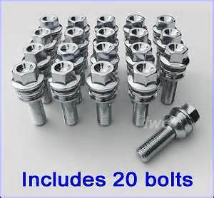 20 New Extended Porsche Alloy Wheel Bolt To Suit OE Wheel,53mm Thread