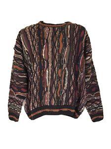 Vintage-90s-Herren-COOGI-Style-Pullover-Strick-3d-italienischer-Pullover-Co-Buntes-XL