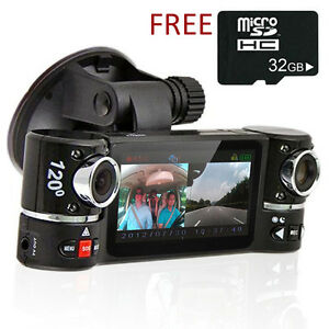 "2.7"" TFT LCD Dual Camera Rotated Lens Car DVR Video Recorder Dash Cam *FREE 32GB"