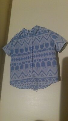 NEW KEN BLUE COLLARED SHIRT W// AZTEC DESIGN FOR MALE BROAD DOLLS Shirt Only