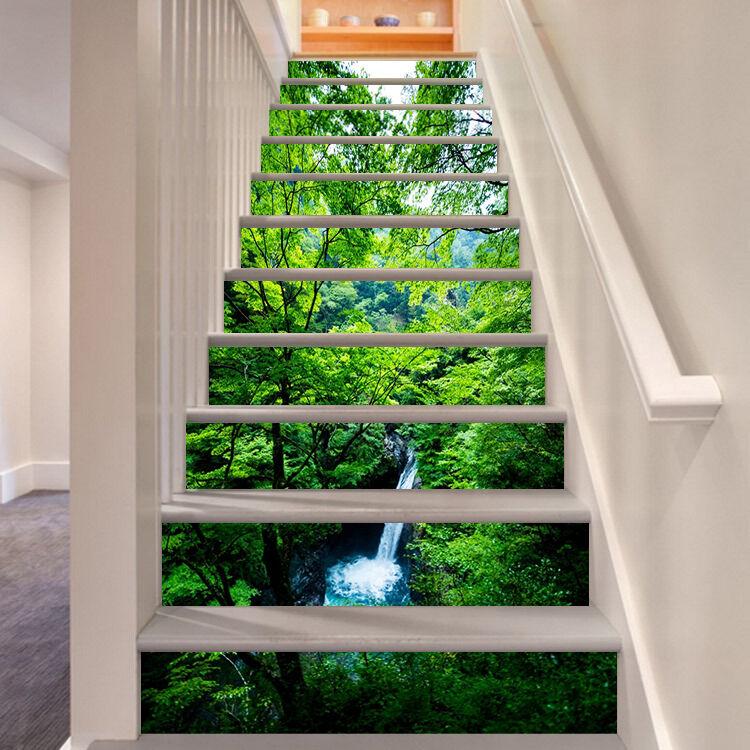 3D vert leaf water Stair Risers Decoration Photo Mural Vinyl Decal Wallpaper AU