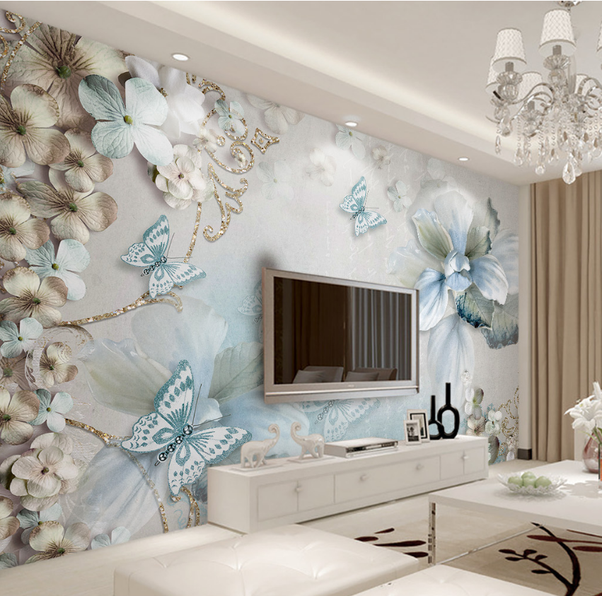 3D Petal Bule 4091 Wallpaper Murals Wall Print Wallpaper Mural AJ WALL UK Lemon