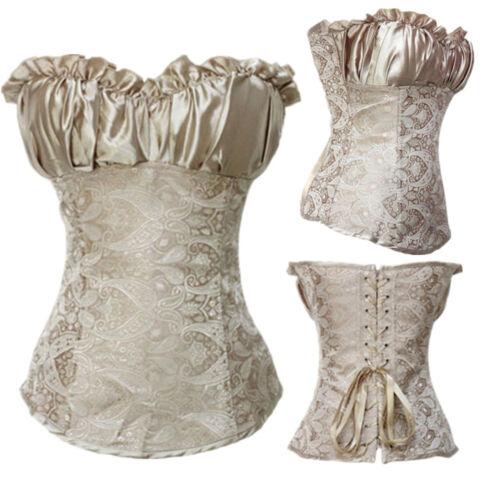 Lace Up Bustier Corset Burlesque Basque Moulin Rouge Fancy Lingerie Boned Shaper