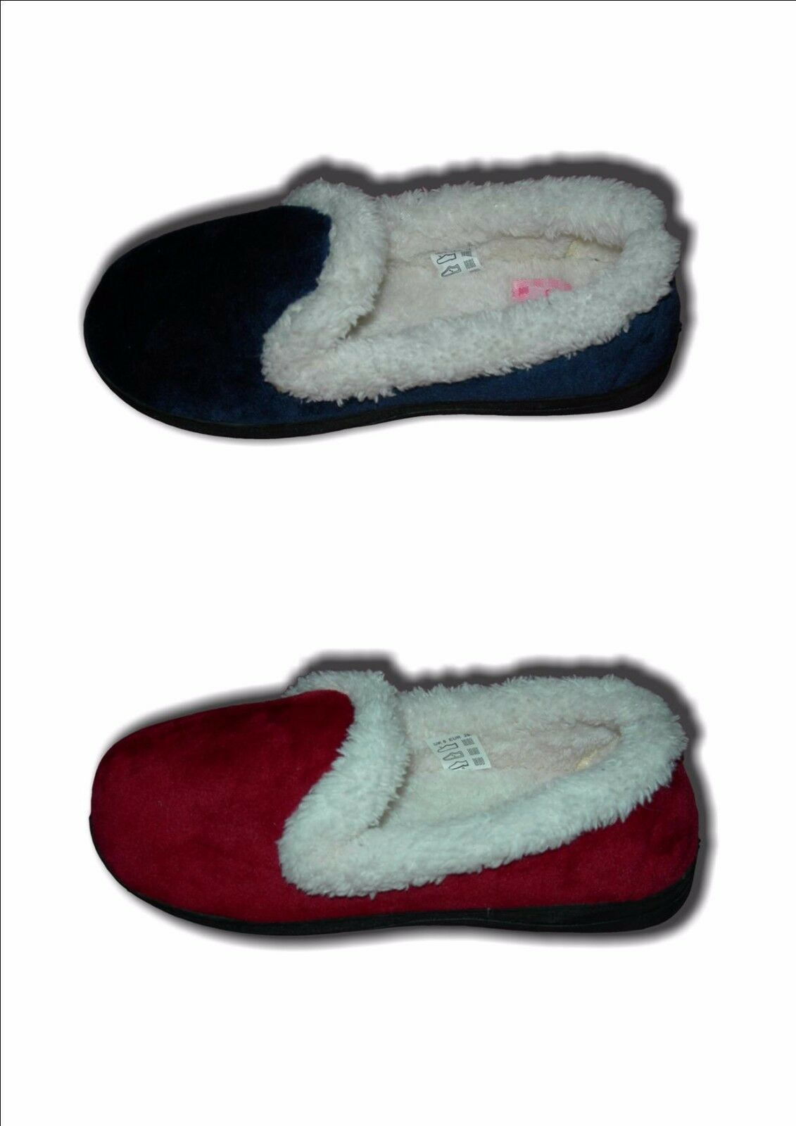 Ladies Girls Slippers Memory Foam Faux Fur Blue Sizes or Red Velour JEAN Sizes Blue 3-8 45e358