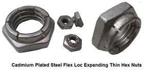 cadmium plated steel thin flex loc hex nut rh 10 32 x 3 8 w x 3
