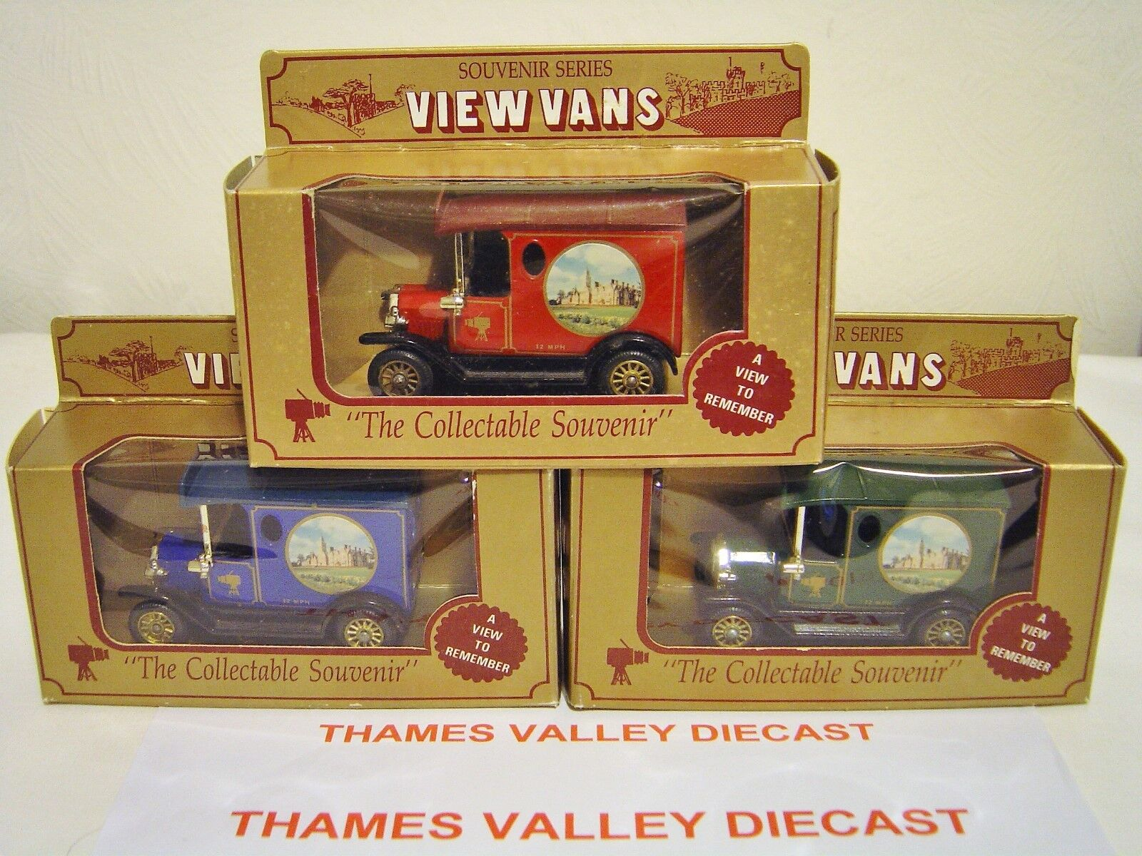 LLEDO VIEW VANS MODEL T FORD VAN ALDERMASTON MANOR '91 TOY FAIR CERT No 1, 2, 3