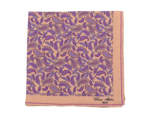 Cesare Attolini Tan /& Violet Paisley Linen Pocket Square NWT Handmade Italy