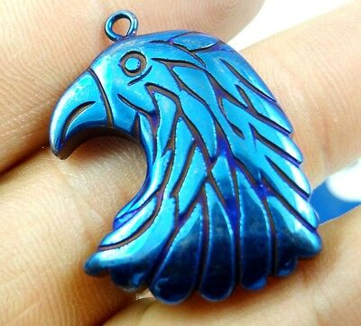 Titanium Hematite hand-Carved eagle head Gemstone pendant beads necklace D4