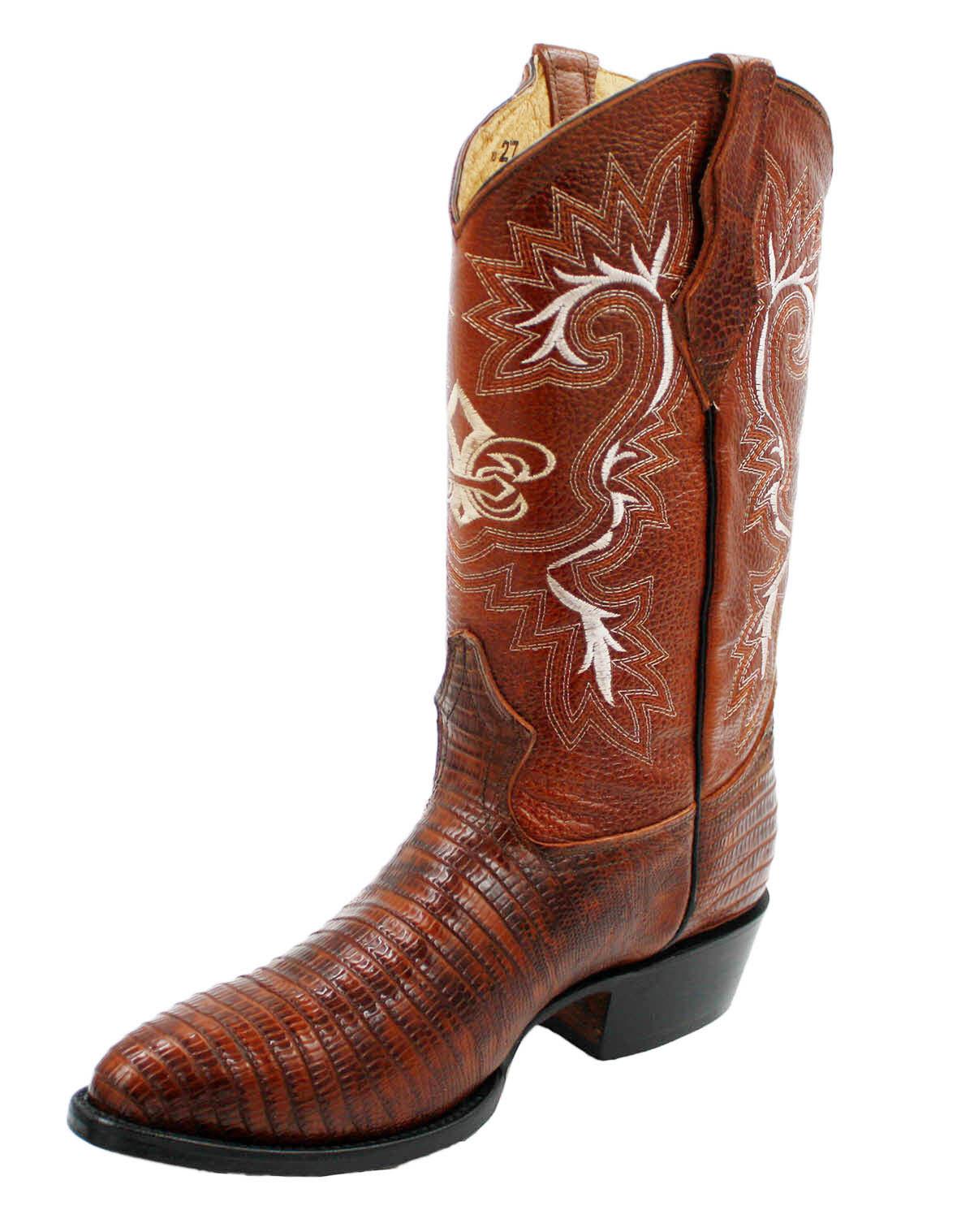 Men's Genuine Leather Lizard Print Western Cowboy Brown Boot  Style CB Lizard