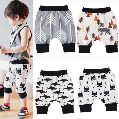 Cute Printed Baby Boys Harem Pants Shorts Jogger Cropped Trousers Kids Bottoms