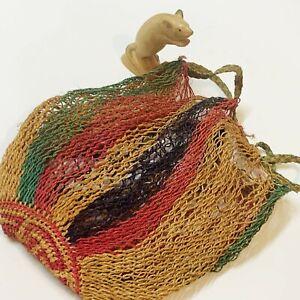 Small Bilum Bag SEPIK PNG Natural Twine String Bag, Drawstring Back Pack Straps