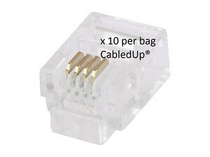 10-x-RJ11-6P4C-Phone-Crimp-Plugs-Connectors-Ends-Cat-3-ADSL-4-Pin-Telephone-Fax
