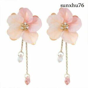New-Fashion-Acrylic-Crystal-Flower-Drop-Dangle-Earrings-Long-Chain-Women-Jewelry