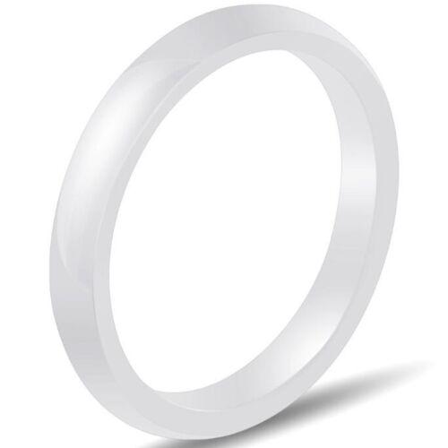3 mm Noir Blanc Céramique Plain Simple Classique Mariage Bande Empilable Anneau