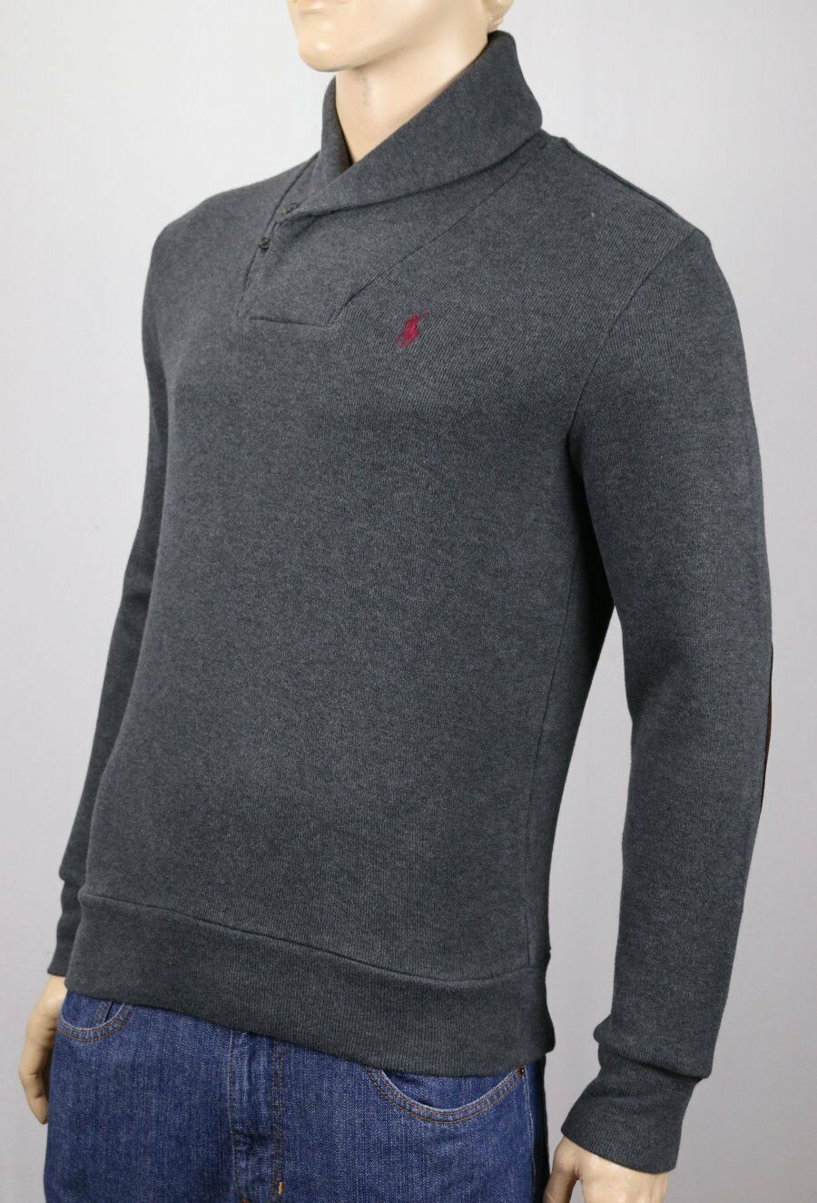 Polo Ralph Lauren Grau Shawl Collar Sweater Suede Elbow Patches NWT 125