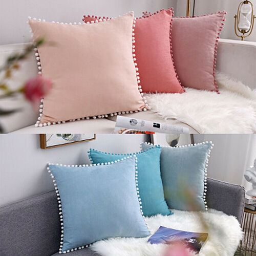 Pom Pom Velvet Pillowcase Cushion Cover Fantasy Girl Bedroom Sofa Decor 30//50cm