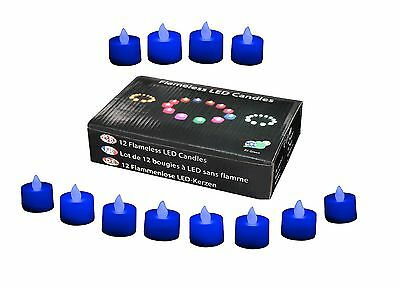 12 BLUE LED CANDLES FLAMELESS NATURAL WEDDING TEALIGHTS by PK Green