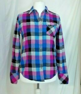 ROXY-blouse-shirt-checked-pinks-blues-100-Cotton-Size-L-14-Chest-41-Ex-Con