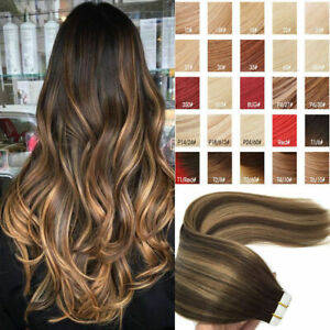 20-40-Extensions-de-cheveux-NATURELS-TAPE-BANDES-ADHESIVE-REMY-HAIR-GRADE-7AAAAA