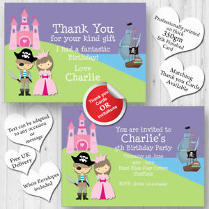 Details About 10 Personalised Birthday Party Invitations Princess And Pirate Fancy Dress A34