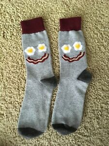 Image is loading Womens-Bacon-And-Egg-Socks-7-9-Gray- 8d529382cb