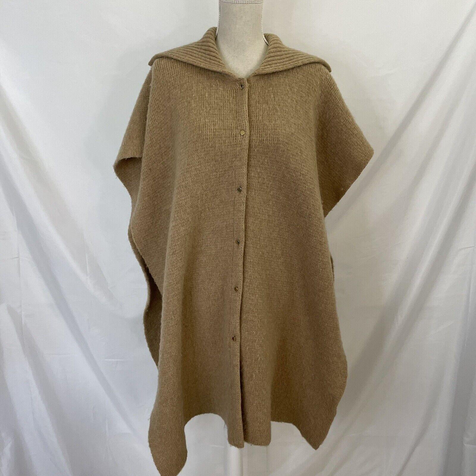 Bonnie Cashin Camel Knit Sweater Cape Poncho Coat - image 1
