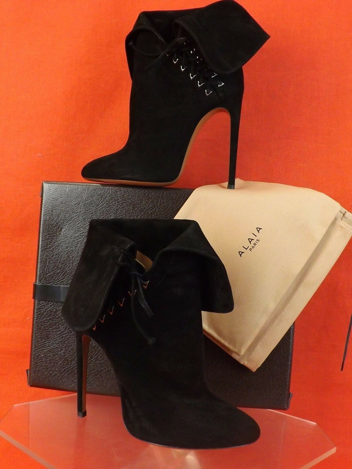 NIB ALAIA schwarz SUEDE WING FOLD LACE UP ANKLE Stiefel 39.5 8.5  1995