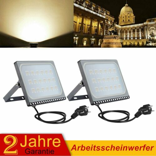 2X 100W LED Fluter Außen Flutlicht Baustrahler UltraDünn Warmweiß Mit Stecker