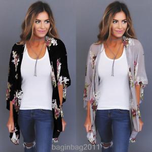 2d5c141ed4 Details about US Fashion Women Floral Loose Kimono Cardigan Boho Chiffon  Coat Jacket Blouse