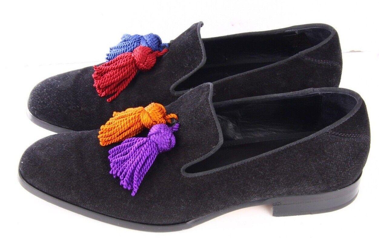 Jimmy Choo Uomo Foxley Nappa Mocassini Pantofole Scarpe   Neri Formali