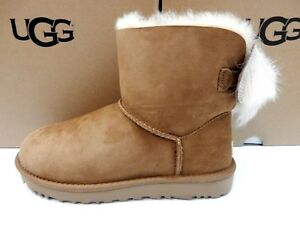fc0e390e400 Details about UGG WOMENS BOOTS MINI FLUFF BOW CHESTNUT SIZE 10
