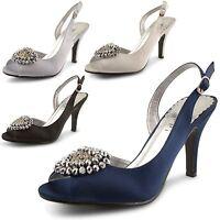 Womens Ladies Diamante Satin Peep Toe High Heel Ankle Strap Sandals Shoes Size