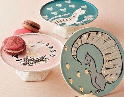 Nouvelle Anthropologie Set de 3 mini cake Stands  écureuil, chat, Deer Corinna collection