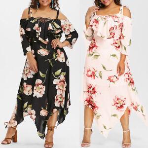 Details about New Plus Size Fashion Women Off Shoulder Lace Up Flowing  Floral Print Maxi Dress