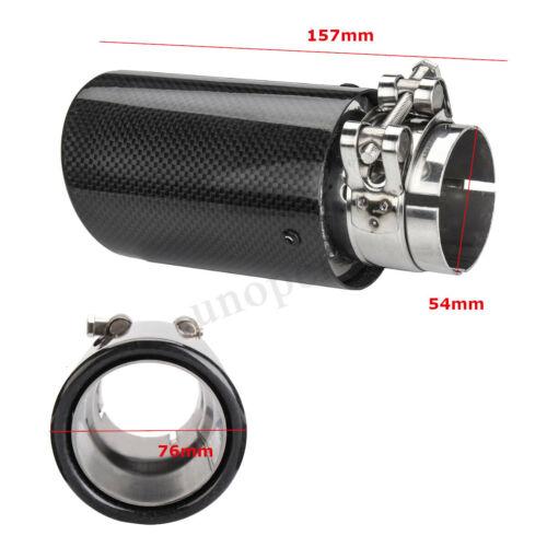 54mm 63mm 80mm 2/'/' 2.5/'/' 3/'/' Gloss Carbon Fiber Car Exhaust Tip Pipe Muffler !