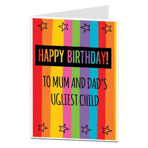 Image Is Loading Brother Sister Birthday Card Funny Rude For Older