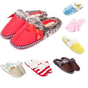 Ladies-Slip-On-Luxury-Slippers-Size-3-to-8-UK-WARM-FAUX-FUR-LINED-SLIPPERS
