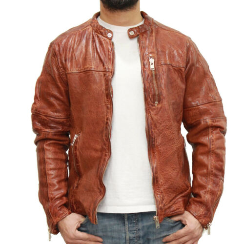 Men/'s Brown//Tan Vintage Veg finishing 100/% leather with Chunky Zip Racing Jacket