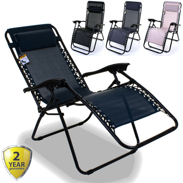 RECLINING SUN LOUNGER ZERO GRAVITY TEXTOLINE OUTDOOR GARDEN FURNITURE BED RELAX