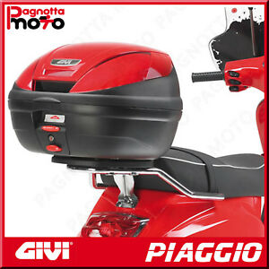 ATTACCO POSTERIORE CROMATO PER BAULETTO MONOLOCK PIAGGIO VESPA LX 50 2005>2014