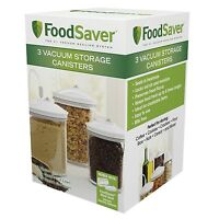 Foodsaver 3 Piece Round Canister Set Vacuum Lid Sealer Container Storage Jar